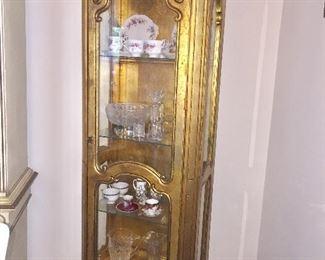 Gold leaf vintage curio cabinet