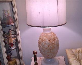 Vintage Carved Flowers & Leaves Alabaster Lamps