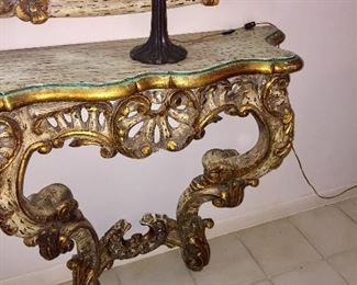 Unique Gold Leaf Distressed Wood Console & Mirror