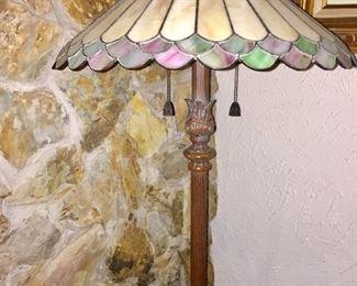 Slag Glass Vintage Standing Lamp