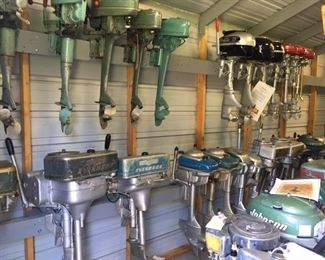 PART OF A LARGE COLLECTION OF 80+ ANTIQUE OUTBOARD MOTORS