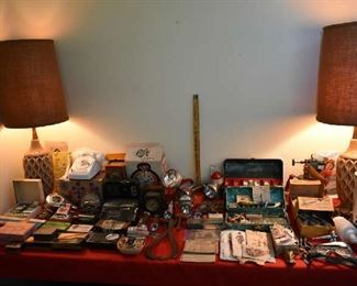 VINTAGE LAMPS, VINTAGE BOXED ITEMS, FISHING LURES/BOXES, CAR EMBLEMS, LIGHTS