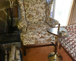 UPHOLSTERED ARMCHAIR, ASHTRAY TABLE