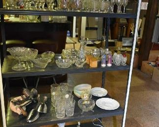 METAL SHELF, GLASSWARE, RELIGIOUS