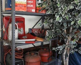 METAL SHELF, GAS CANS