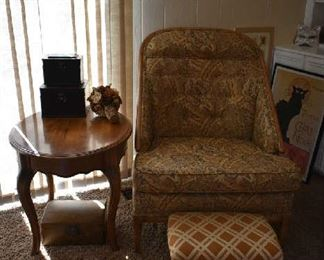 ACCENT TABLE, UPHOLSTERED CHAIR & STOOL