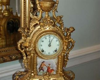 Gilt and hand painted clock