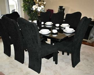 UNIQUE BLACK MARBLE LOOK DINING TABLE W/2 LEAFS, PADS & 8 CHAIRS