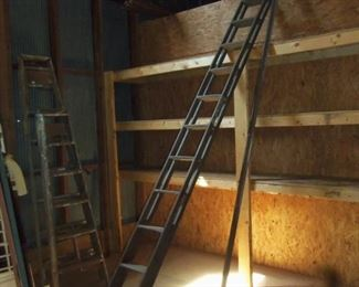 Awesome Antique Wooden 15ft  Rolling  Ladder used at the store! Amazing Piece of History!