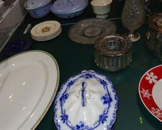ANTIQUE SERVING BOWLS AND TRAYS