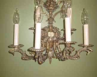 Pair Brass Ornate Wall Sconces