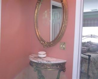 Marble Top Shelf Wall Table with Accent Mirror