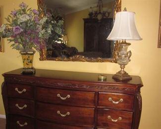 Stunning Bob Mackie King Bedroom Suite &  Antique Mirror