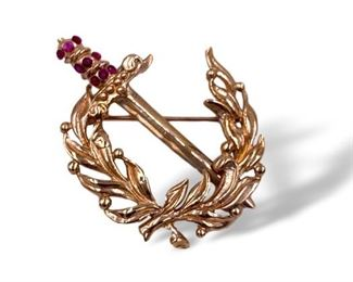Gold and Ruby pin