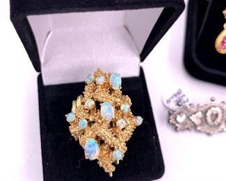 Huge modernist 14K gold and opal ring