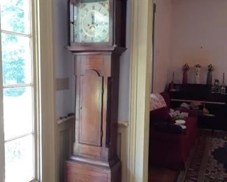 Grandfather clock, weights and key intact