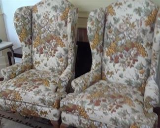 Pair of upholstered wing chairs by marcus, north carolina