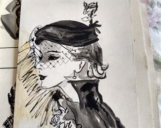 Original 1950s fashion drawings