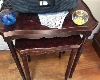 nesting tables - art glass,Bose wave radio - we also have 5 Bose speakers