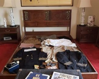 Navy captain dress uniforms and trunk. pair of  Quan Yin French mounted lamps