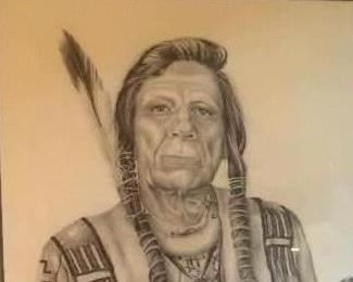 Iron Eyes Cody, original pencil drawing by Nancy Ridenhour