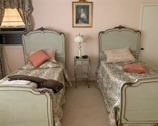 Beautiful French Style painted twin beds. Matching chest, bedside table, dressing table and chair.