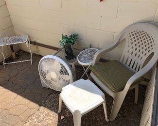 patio chairs, stools, fans, tables
