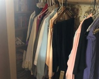2 closets with womens clothes & shoes... several vintage pieces.