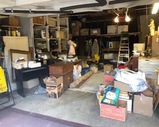 PICKERS GARAGE FILLED WITH COLLECTABLE TRAINS, UNBOXED SEWING ITEMS, HAND TOOLS, AND MISC. TREASURE!!!