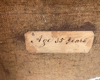 """The gentlemen's painted portrait had this original inscription on the back of the canvas after we carefully removed one of the planks... """"Age 35 Years."""" Perhaps the painter was commishioned to paint a brother and sister?"""