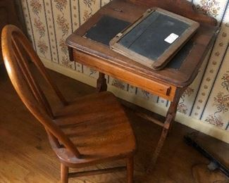 Childrens' turn of the century desk, tablet & chair...