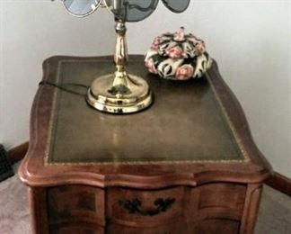 mid-century end table with touch lamp