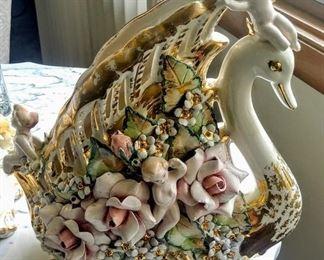 antique Capodimonte Italian swan planter pair