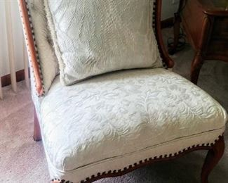 white accent chair with matching pillow (x2)