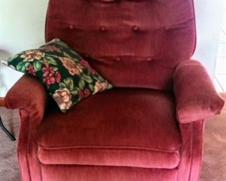 burgandy rocker-recliner
