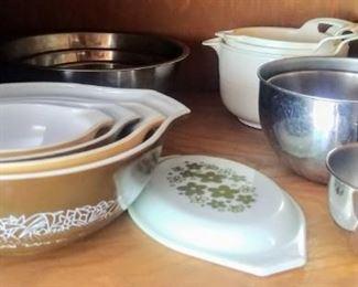 nesting/mixing bowls:  Pyrex, Nordicware, etc.