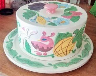 large hand-painted ceramic cake holder