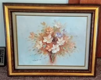 Robert Cox oil painting in gold frame