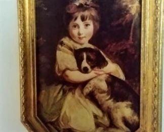 Italian artwork in gold frame with velvet backing