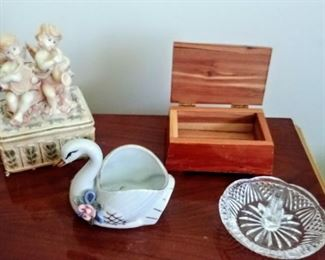 angel trinket box, swan trinket box/planter, wooden box, & crystal ring holder