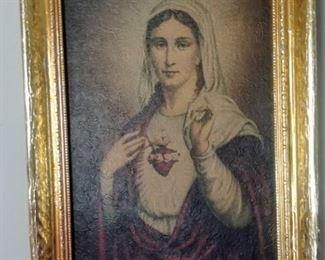 vintage Sacred Heart of Mary artwork in gold frame