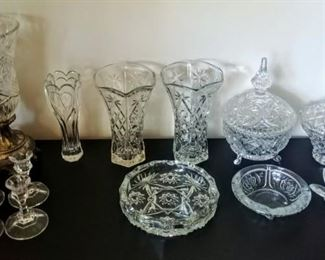 cut-glass:  lamp, vases, candy dishes (crystal), candle holders,  & ashtrays