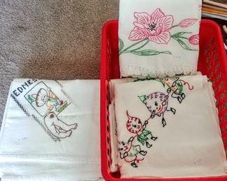vintage hand-embroidered tea-towels