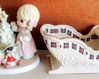"""Precious Moments Disney """"When you wish upon a star"""" 2006 figurine; Lenox sleigh candy dish"""