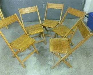 5 vintage wood folding chairs