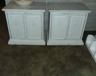 pair of end tables and home decor