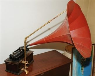 EDISON HOME CYLINDER  PHONOGRAPH WITH LARGE HORN WITH STAND