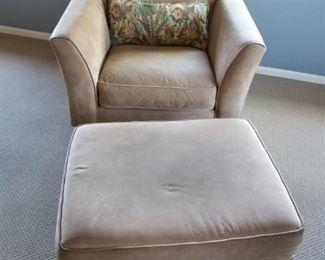 Pottery Barn Suede Chair & Ottoman