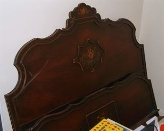 Hand Painted Walnut Bed Set