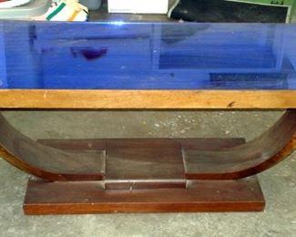 Art Deco Blue Mirror Top Coffee Table